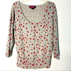 STAR Button Down Sweater Cardigan Gray & Red